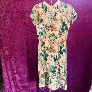 Vintage Silk Asian Print Cocktail Dress